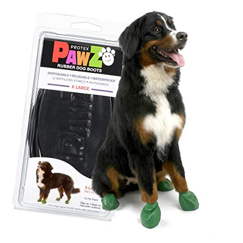 Pawz Dog Boots | Dog Paw Protection with Dog Rubber Booties | Dog Booties for Winter, Rain and Pavement Heat | Waterproof Dog Shoes for Clean Paws | Paw Friction for Dogs | Dog Shoes (Black) (XL)