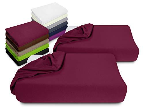 npluseins 2er Pack Spannbezüge Kissenbezüge für Gesundheitskissen 1450.2049, Spannbezug für Gesundheitskissen, Bordeaux