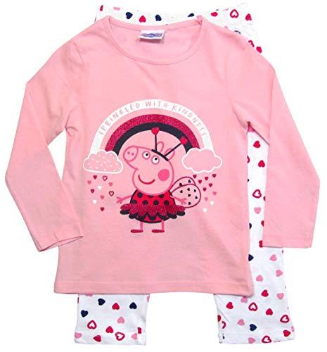 Peppa Wutz Schlafanzug Mädchen Pyjama Peppa Pig Lang (Weiß-Rosa, 116)