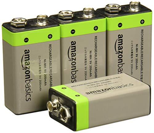 AmazonBasics - Pilas recargables de 9 V, 200 mAh, Ni-MH, Paquete de 4