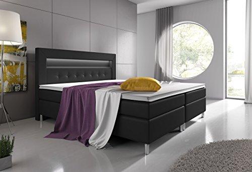 Wohnen-Luxus Boxspringbett 160x200 Schwarz mit Visco-Topper 7-Zonen Taschenfederkernmatratze Hotelbett Polsterbett Venedig Supreme
