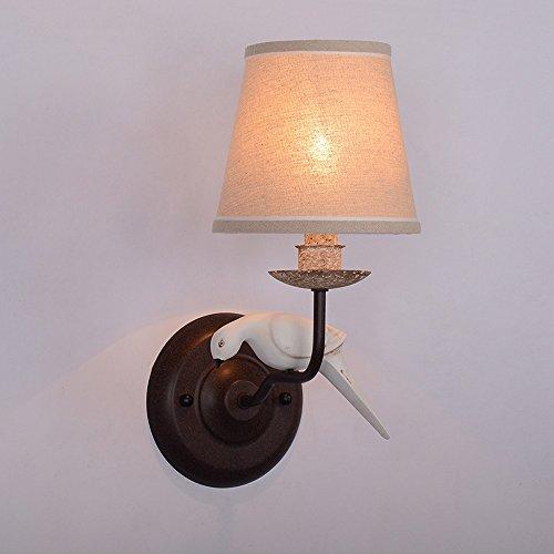 ZHANGYN Candelabros de pared Bird lámpara de pared creativa E14 Resina Estudio retro dormitorio Corredor de hierro de una sola cabeza la cabeza del doble del paño ligero de la pared (Color : 1)