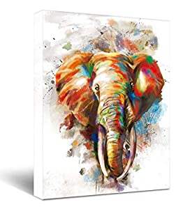 """Elephant Wall Decor Canvas Prints Life light red Watercolor Painting Theme Artwork Framed for Bathroom Bedroom Living Room Bedroom Home Office Decorations 11.5""""x15"""""""