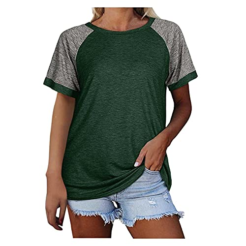 routinfly Damen Sommer Tops UK Fashion Frau O-Neck Kurzarm Tops T-Shirt Sommer Print Lose Bluse Casual T-Shirts für Teenager Mädchen