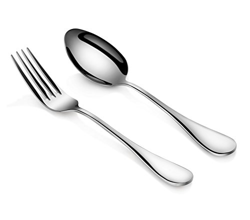 Artaste Rain 1810 Stainless Steel Table Serving Spoons and Forks Set Set of 6 Silver