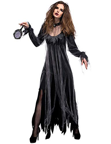 NonEcho Women Scary Zombie Bloody Mary Costume Halloween Horror Ghost Bride Dress Black