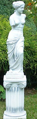 Deko Garten Figur Statue Venus von Milo auf ionischer Säule als Satz Skulptur aus Beton Gesamthöhe 91 cm