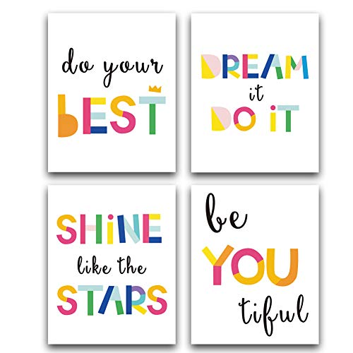 Unframed Watercolor Words Typography Art Print,Inspirational Quote and Saying Art Painting,Set of 4?8 x10 ?Canvas Motivational Posters For Nursery Or Kids Room Modern Decoration