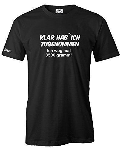 Jayess KLAR HAB ICH ZUGENOMMEN ICH WOG MAL 3500 Gramm - Herren - T-Shirt in Schwarz by Gr. XXXL