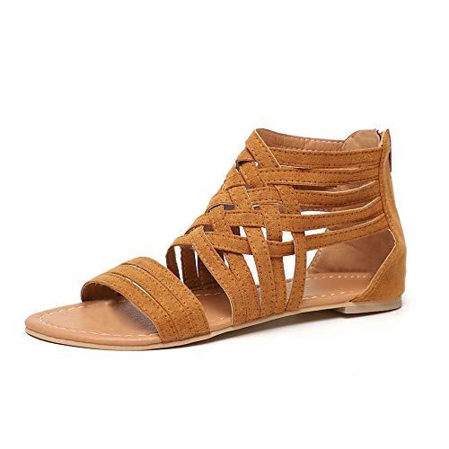 Sandalias Mujer Planas Zapatos Tacon Playa Verano Romano Gladiador Cremallera Punta Abierta Thongs Ligero Plataformas Negro Marrón Gris EU35-EU43