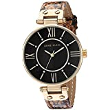Anne Klein Women's Swarovski Crystal Accented Gold-Tone and Brown Snake Patterned Vegan Leather Strap Watch, AK/3228BKBN