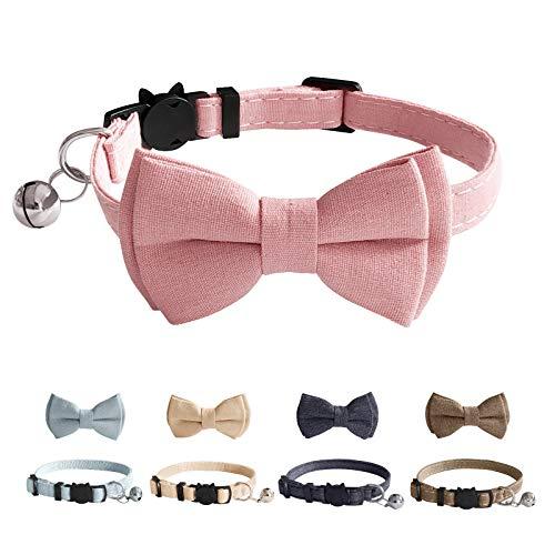 BOBIPAW, collare per gatti, collare di sicurezza a sgancio rapido e collare per gattini, regolabile da 19,8 cm a 27,7 cm, colore: rosa
