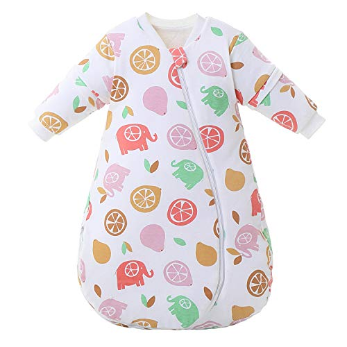 Saco de Dormir para bebé Mangas largas Invierno 2.5 - 3.5Tog Saco de Dormir de algodón 100% orgánico(M tamaño del Cuerpo 60-70cm)