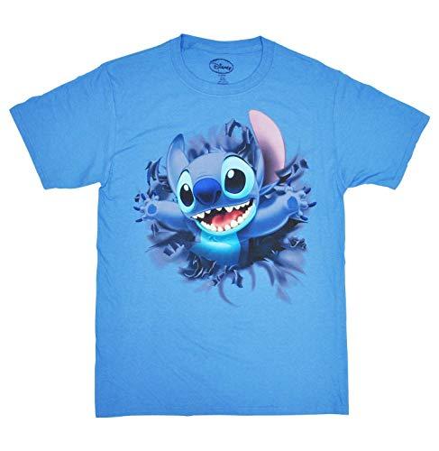 Disney Adult Unisex T-Shirt Embossed Stitch Front & Back Tee Columbia Blue (Large)