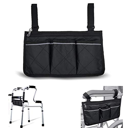 Wheelchair Armrest Accessories, Side Bags to Hang on Side with Bright Line Waterproof Black Walker Storage Pouches for Home/Outdoor/Car (Black Side)