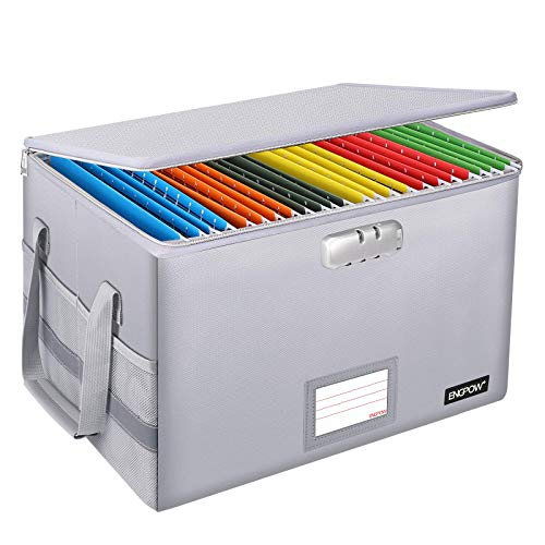 Fireproof Box with Lock,ENGPOW File Box Storage Organizer with Zippers,Collapsible Fireproof Document Box Filing Box with Handle,Portable Home Office Safe Box for Hanging Letter/Legal Folder,Silver