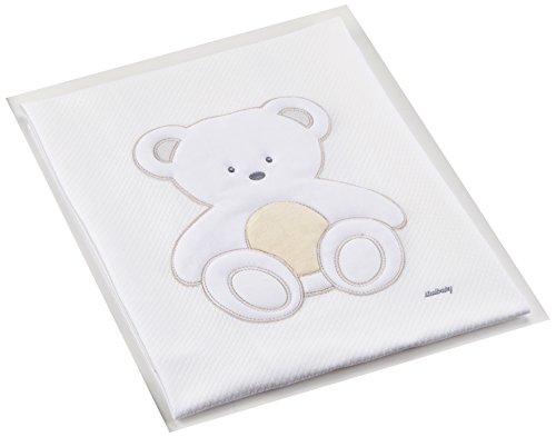 ITALBABY Plüsch bestickt Piqué Decke für Babybett, Taube grau