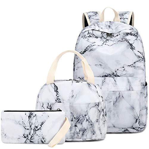 Backpack for Teen Girls Bookbag School Backpack Set with Lunch box and Pencil Bag Marble