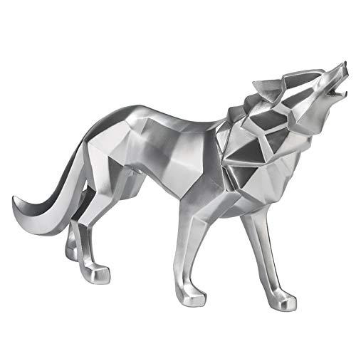 Fenteer Harz Abstrakte Wolf Statue Geometrische Tier Figuren für Büro Zimmer Dekoration, Nordic Skulptur Wohnkultur Handwerk 32x8x21cm - Silber