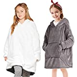 Manta con capucha para niños, bata de forro polar súper suave, cálida y cómoda, bata con capucha, manta de gran tamaño, súper suave, cómoda, manta con capucha, talla única, color gris