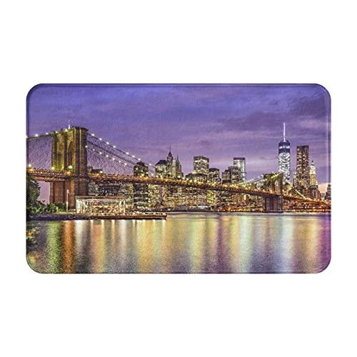 SUHETI Felpudo,Alfombra de baño,Alfombrilla AntideslizanteHorizonte de la Ciudad de Nueva York, Nueva York, Estados Unidos con el Puente de Brooklyn,Alfombra al Aire Libre,para Interiores,Cocina