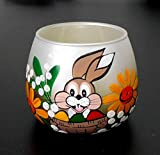 Ostern Osterhase Windlicht Teelichthalter Osterei Glas goldgelb handbemalt handmade