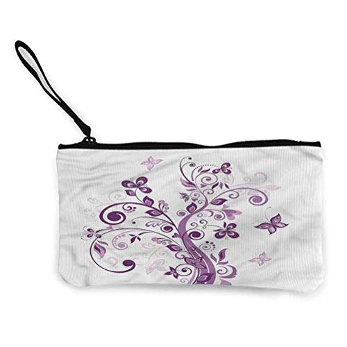 Mauve Portable Sac Cosmétique Voyage Maquillage Sac Porte-Monnaie Cosmétique Sacs De Rangement Floral Jardin et Feuille