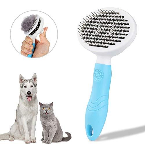 SANRF Hundebürste Katzenbürste, Zupfbürste mit Geschmeidigen Edelstahl Borsten und Reinigungsknopf für Hunde Katze Kurz bis Langhaar geeignet zur Entfernung der Unterwolle