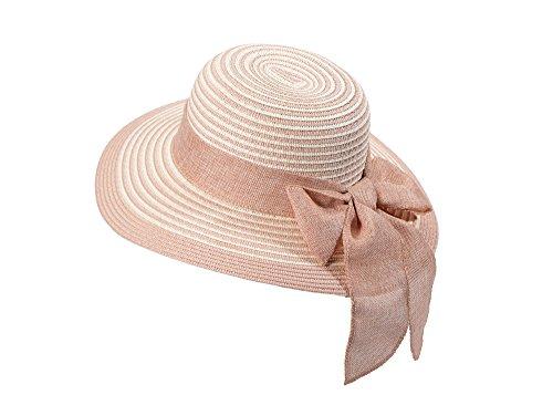 Miuno® Damen weich Sonnenhut Partyhut Stroh Hut Schleife H51065 (rosa)