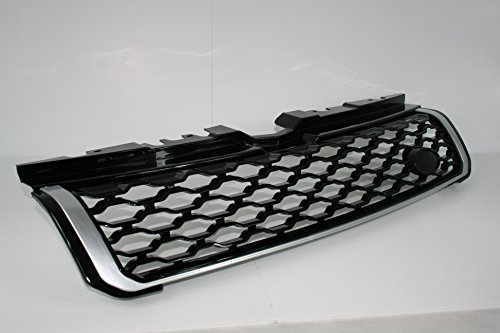 Zunsport Compatible with Range Rover Evoque Dynamic Java Black Gloss with Silver Trim Front Grille Upgrade (2011-2018)