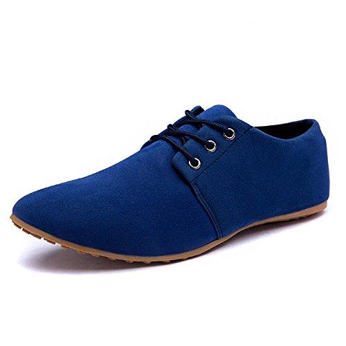 Minetom Sommer Herren Britisch Stil Mokassins Casual Suede Loafers Lace-up Schuhe Flache Fahren Halbschuhe Blau EU 45