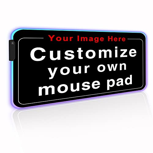Personalized RGB LED Extended Gaming Mouse Pad Make Your Own Customized Large Gaming Mousepad Custom Keyboard Mouse Mat for Office Dorm Personalised Gifts Presents for Gaming Lovers, 31.5x11.8in