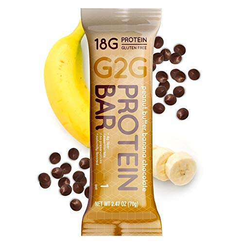 G2G Protein Bar, Peanut Butter Banana Chocolate, Healthy Snack, Clean Ingredients, Gluten-Free, No Preservatives, Refrigerated For Freshness, 16 Count (2 Packs of 8)