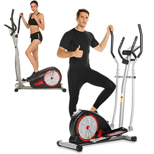 ANCHHER Elliptical Machine, Compact Elliptical Training Equipment with LCD Monitor, 8 Magnetic Resistance Levels and 350lbs Weight Capacity for Indoor Gym for Cardio Training (Black)