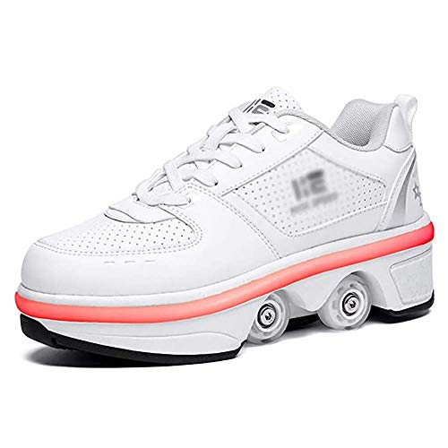 Zapatos con ruedas Zapatillas con ruedas para niños y niñas Zapatillas con ruedas para niños Zapatillas deportivas con ruedas con ruedas de doble hilera Zapatillas con ruedas LED de 7 colore