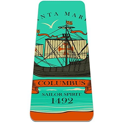Esterilla de yoga gruesa de 6 mm para ejercicios y ejercicios (72 'L x 24' W x 1/4 pulgada), Columbus Retro Travel Adventure Velero