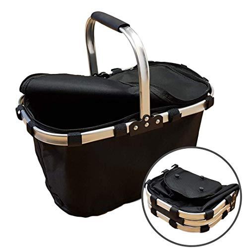 Amazinggirl Faltbarer Einkaufskorb faltbar - Tragetasche Klappkorb Tragekorb klappbar Picknickkorb mit Deckel schwarz mit Einzelgriff