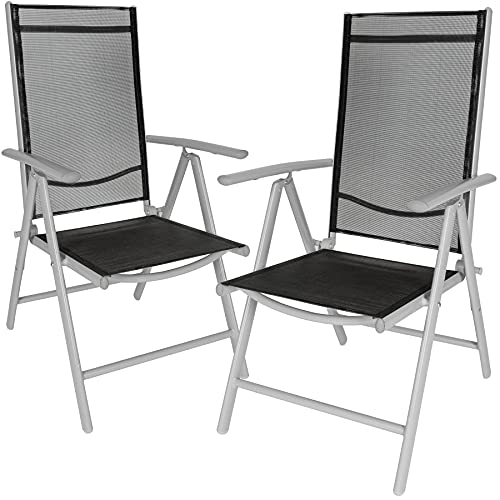TecTake Lot de aluminium chaises de jardin pliante avec accoudoir - diverses couleurs et quantités au choix - (Gris   2 chaises   no. 401631)