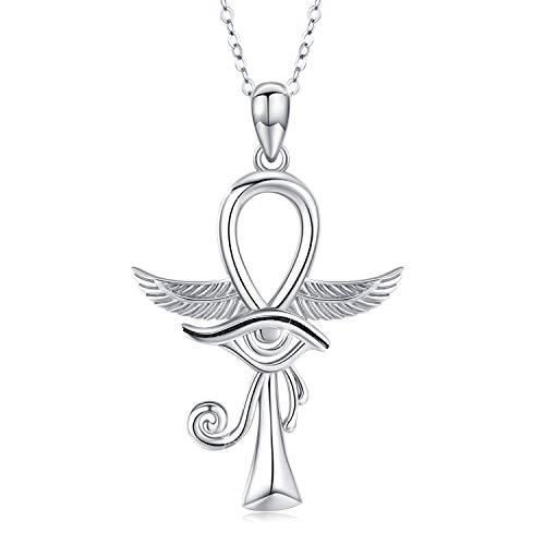 Kreuz Kette Damen Sterling Silber 925 Anhänger Halskette Mädchen Ankh Auge Horus Schmuck Valentinstag Geschenk für Frauen