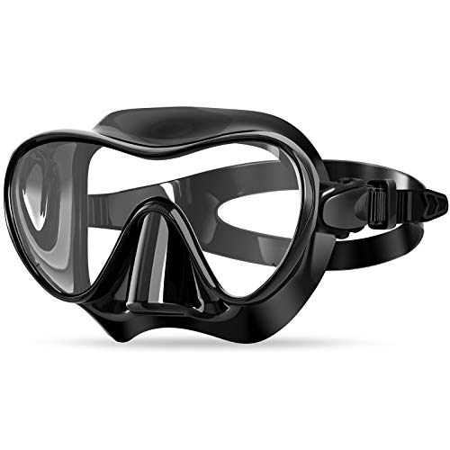 Bairuifu Snorkel Diving Mask Swim Mask Swimming Goggles with Nose Cover, Anti-Fog Tempered Glass Scuba Mask with Silicone Skirt Strap for Scuba Diving Snorkeling and Swimming