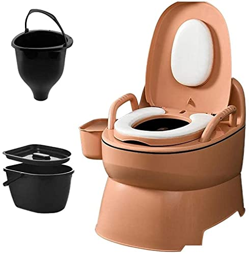 WXking Camping Toilet Portable Toilet Mobile Emergency Toilet With Toilet Paper Holder Suitable for Outdoor Emergency Situations Camping And Sleeping (Size : With a solid barrel)