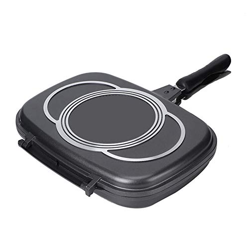 Iron Skillet, Equipped with Magnetic Lock Device, Multipurpose Sealing Frying Pan, Cast Aluminum for Home Barbecue Kitchen Party