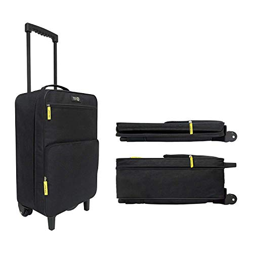 2-Wheel Ultra Lightweight 1.8kg Collapsible Cabin Luggage. Made of High Tensile Strength Materials. Approved for Ryanair EasyJet. Save Storage Space When Unused. Size 55x35x20cm