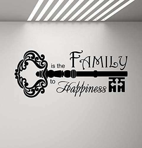 wopiaol Wohnzimmer Vinyl Wandaufkleber Decobay bewegliches Wandbild Familie Home Familie ist der Schlüssel zum Glück Worte Schlüssel 100X42 cm
