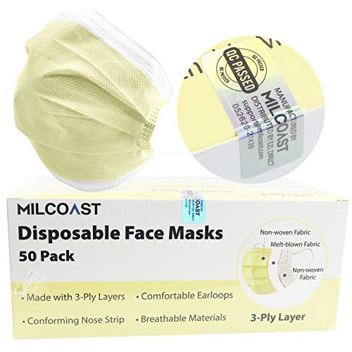 Milcoast Disposable Face Masks Breathable 3-Layer Filter Soft Earloops - 50 Pack Color (Yellow)