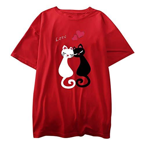 Camiseta de manga corta para mujer, diseño de gato, para amantes de los gatos