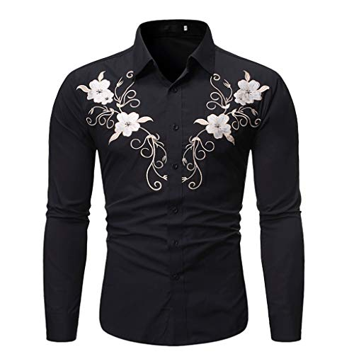 Lowest Price! Men Button Down Shirts Floral Embroidery Slim Fit Business Clubwear Workout Shirts Blo...