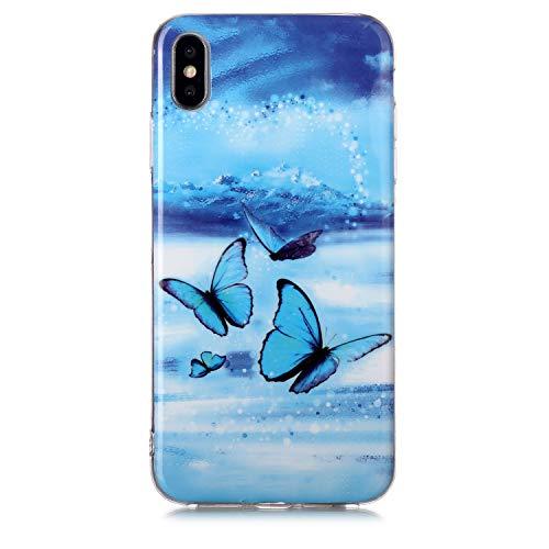 Fatcatparadise Cover per iPhone XS Max (6,5 Pollice) [con Pellicola in Vetro Temperato], [Chiaro di Luna] TPU Morbido Silicone Bumper Cover [Ultra Sottile] Protettiva Case(Farfalla Blu)