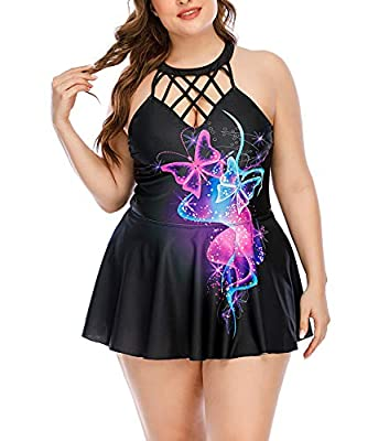 ESPRLIA Plus Size Halter Tankini Swimsuits Two Piece Bathing Suits (Black, 18W)