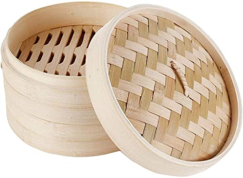 Yemetey Vaporiera in bambù Naturale, Cestello per Cottura a Vapore, Cestello Cottura a Vapore 2 Livelli con Coperchio, Ideale per Ravioli, Dim Sum e Verdure